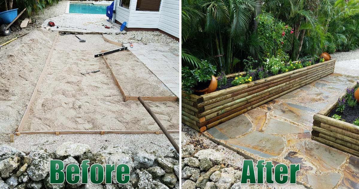 Hardscape paver patio remodel raised plant flower beds Before and After